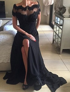 Black Short-Sleeve Sheer Lace Back Embellished Prom Gown With Slits