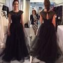 Black Beaded Top Cap Sleeve Tulle Floor Length Formal Dress