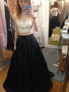 Black Two Piece Lace Top Floor Length Ball Gown Prom Dresses