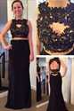 Black Two Piece Lace Embellished Bodice Open Back Formal Dress