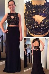 Black Two Piece Lace Embellished Bodice Open Back Formal Dress