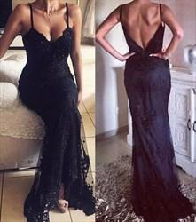 Black V Neck Spaghetti Strap Sheer Lace Backless Mermaid Formal Dress