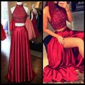 Burgundy Two Piece High Neck Beaded Top Backless Prom Dress With Slit