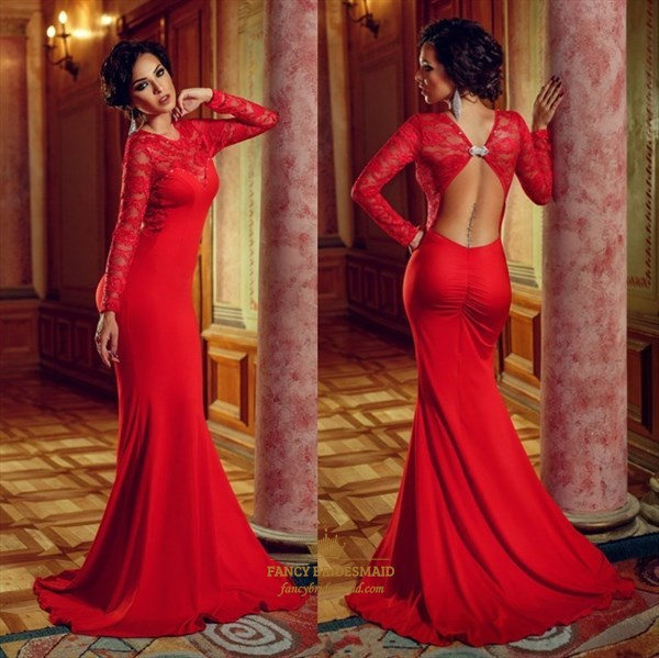 Red Lace Long Sleeve Open Back Floor Length Mermaid Evening Dress