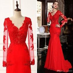 Red V Neck Sheer Lace Long Sleeve Mermaid Long Formal Dress
