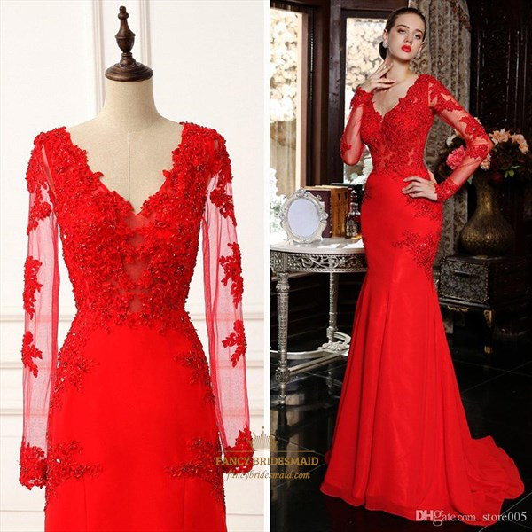 Red V Neck Sheer Lace Long Sleeve Mermaid Long Formal Dress