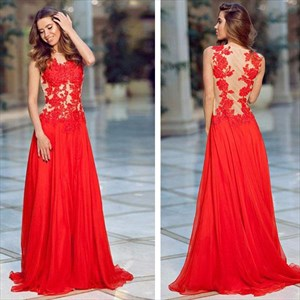 Red Lace Applique Sheer Back Chiffon Floor Length Prom Dress