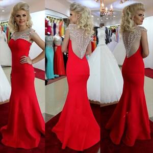 Red Cap Sleeve Beaded Sheer Back Long Mermaid Evening Dress