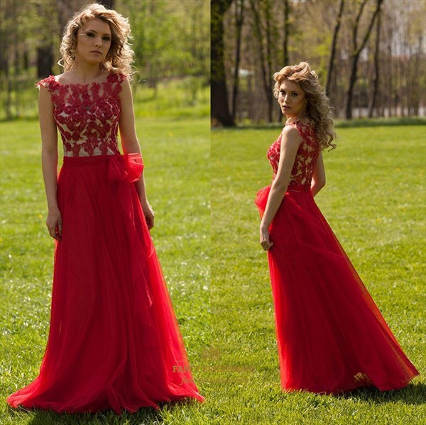 Red Sheer Lace Applique A Line Floor Length Tulle Evening Dress