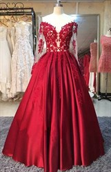 Burgundy Off The Shoulder Sheer Lace Applique Long Sleeve Ball Gown