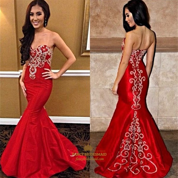 Red Strapless Sweetheart Embellished Full Length Mermaid Evening Dress