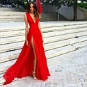 Red Deep V-Neck Floor Length Chiffon Prom Dress With Slits