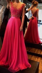 Hot Pink Sheer Lace Top Cap Sleeve Backless Floor Length Prom Dress