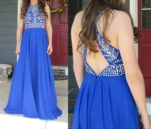 Royal Blue Beaded Bodice Open Back A Line Floor Length Formal Dress