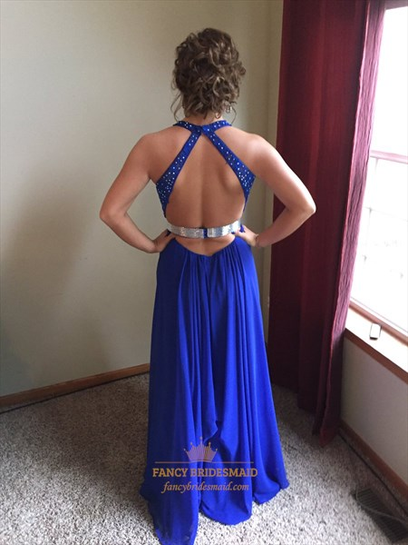 Royal Blue Halter Backless Beaded Full Length Chiffon Formal Gown