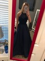 Navy Blue Halter Beaded Top Open Back Formal Dress With Pockets