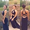 Navy Blue Halter High Neck Beaded Backless Long Prom Dress