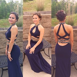 Navy Blue Halter High Neck Beaded Backless Long Prom Dress