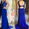 Royal Blue V Neck Embellished Top Open Back Long Chiffon Prom Dress
