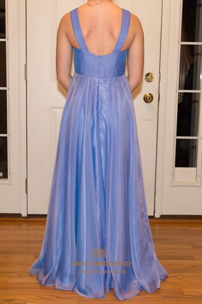 Blue V-Neck Beaded Empire Waist Open Back Chiffon Prom Dress