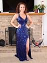 Navy Blue V-Neck Sequin Open Back Long Evening Dress With Slit