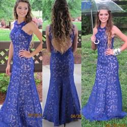 Royal Blue Open Back Lace Full Length Mermaid Formal Dress