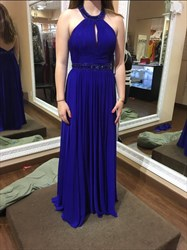 Royal Blue Halter Beaded Open Back Prom Dress With Keyhole Front