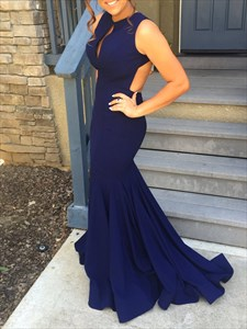 Navy Blue Open Back Mermaid Long Formal Dress With Keyhole Front