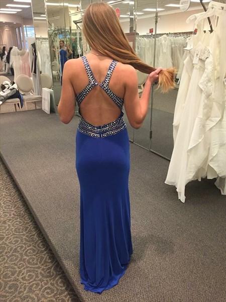 Royal Blue Backless Beaded Floor Length Chiffon Evening Gown