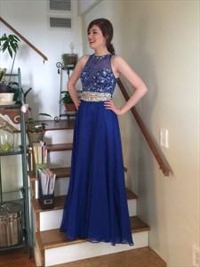 Royal Blue Two Piece Sheer Beaded Applique Long Chiffon Formal Dress