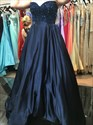 Navy Blue Strapless Sweetheart Beaded Long Ball Gown Prom Dress