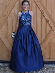 Navy Blue Two Piece Sequin Embellished Top Ball Gown Prom Dress