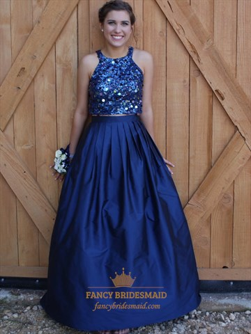 Navy Blue Two Piece Sequin Embellished Top Ball Gown Prom