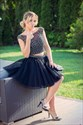 Black Two Piece Short Beaded Embellished Tulle Homecoming Dress