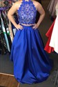 Royal Blue Two Piece Halter Backless Lace Top Ball Gown Formal Dress