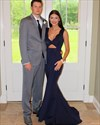 Navy Blue V Neck Long Mermaid Evening Gown With Keyhole Front