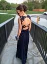 Navy Blue Sheer Lace Top Chiffon Open Back Sleeveless Long Prom Dress