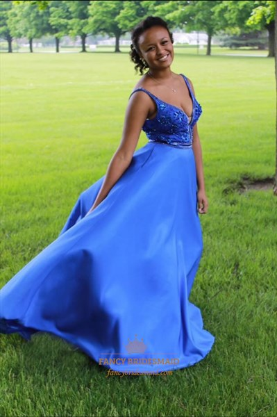 Royal Blue V Neck Beaded Embellished Top Ball Gown Prom Dress
