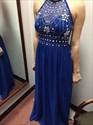 Royal Blue Halter Open Back Beaded A Line Full Length Prom Gown