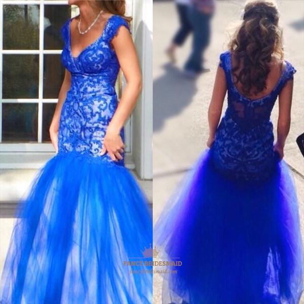 Royal Blue V Neck Open Back Embellished Mermaid Tulle Prom Dress