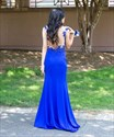 Royal Blue Cap Sleeve Embellished Sheer Back Formal Dress With Slit