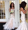 Champagne Strapless Sweetheart Lace Applique Mermaid Prom Dress