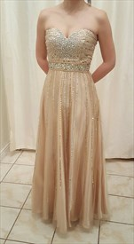 Champagne Strapless Sweetheart Beaded Chiffon Full Length Formal Dress