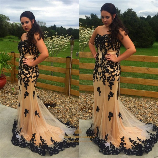 Champagne Strapless Lace Applique Mermaid Tulle Long Formal Dress