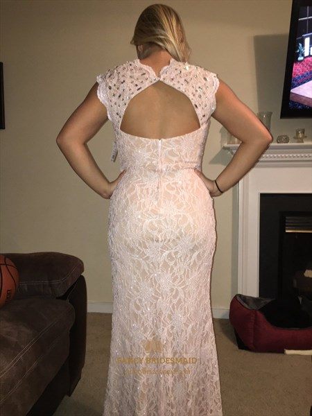 Pink Cap Sleeve Lace Long Formal Dress With Keyhole Back And Slit