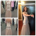 Pink Sleeveless Open Back Lace Embellished Tulle Long Formal Dress