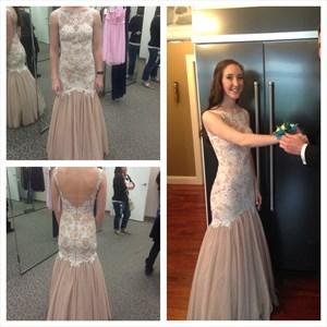 Pink Sleeveless Open Back Lace Embellished Tulle Long Formal Dress