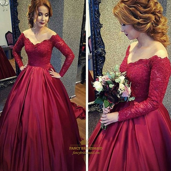 Burgundy V Neck Long Sleeve Lace Top Ball Gown Prom Dress