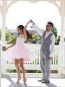 Pink Sleeveless Lace Applique Neckline Short Tulle Party Dress