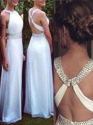 White Halter Cross Back Beaded A Line Long Chiffon Prom Gown